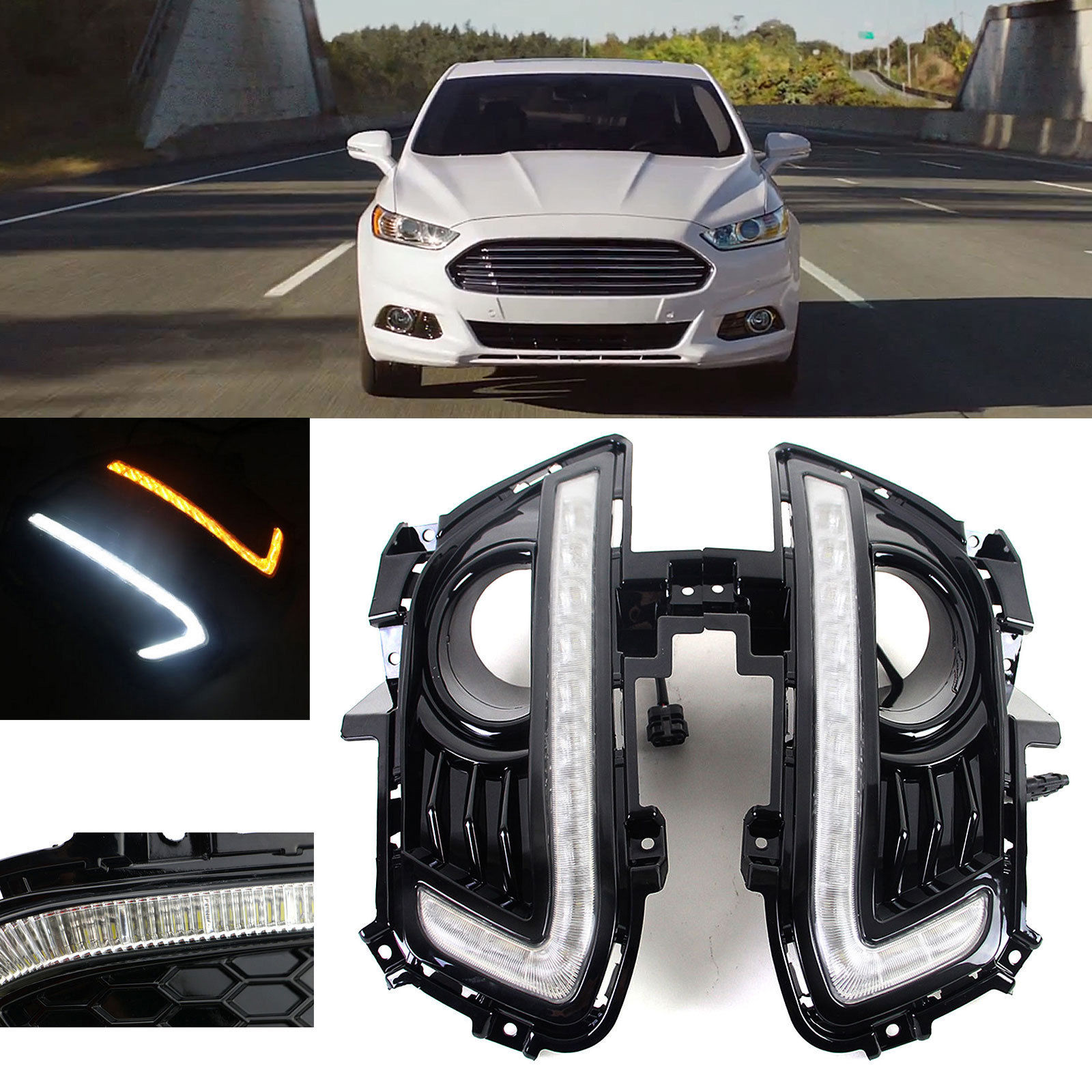 1pair led daytime running light for ford fusion mondeo drl fog 2013 14 15 turn signal