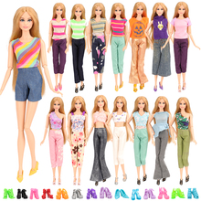 Cute New Many Styles Leisure Fashion 5 PCS Doll Clothes Random Pick+10 Shoes For Barbie Accessories Girl Best Gift