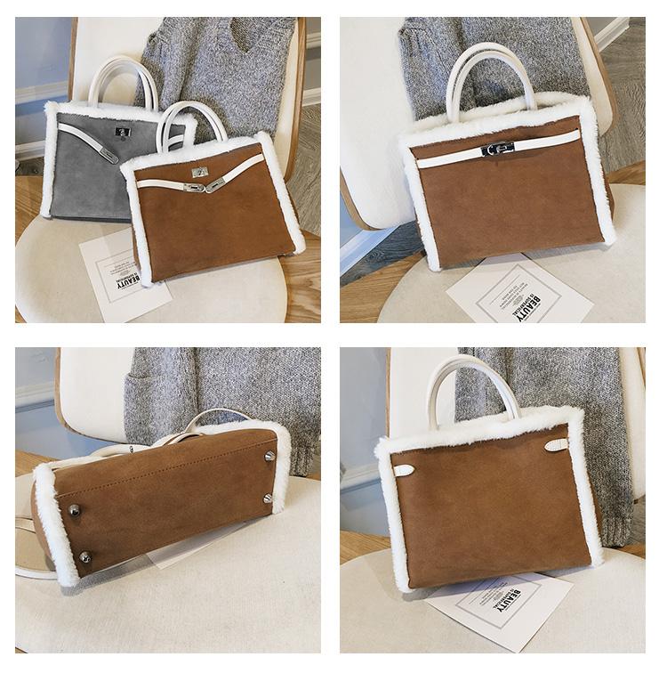 Korean handbag large capacity bucket hand bag designer big tote designer Fur women messengerc winter shopping wool no lock 119