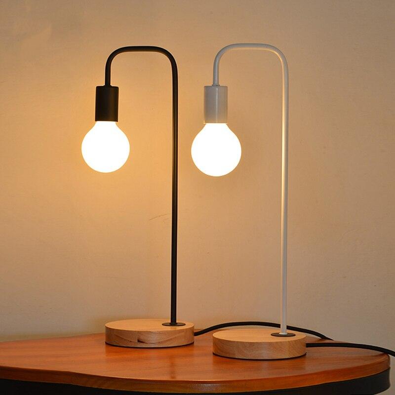 цена на 220v E27 European simple table lamp Vintage Loft Iron desk lamp night light for living room bedroom indoor lighting