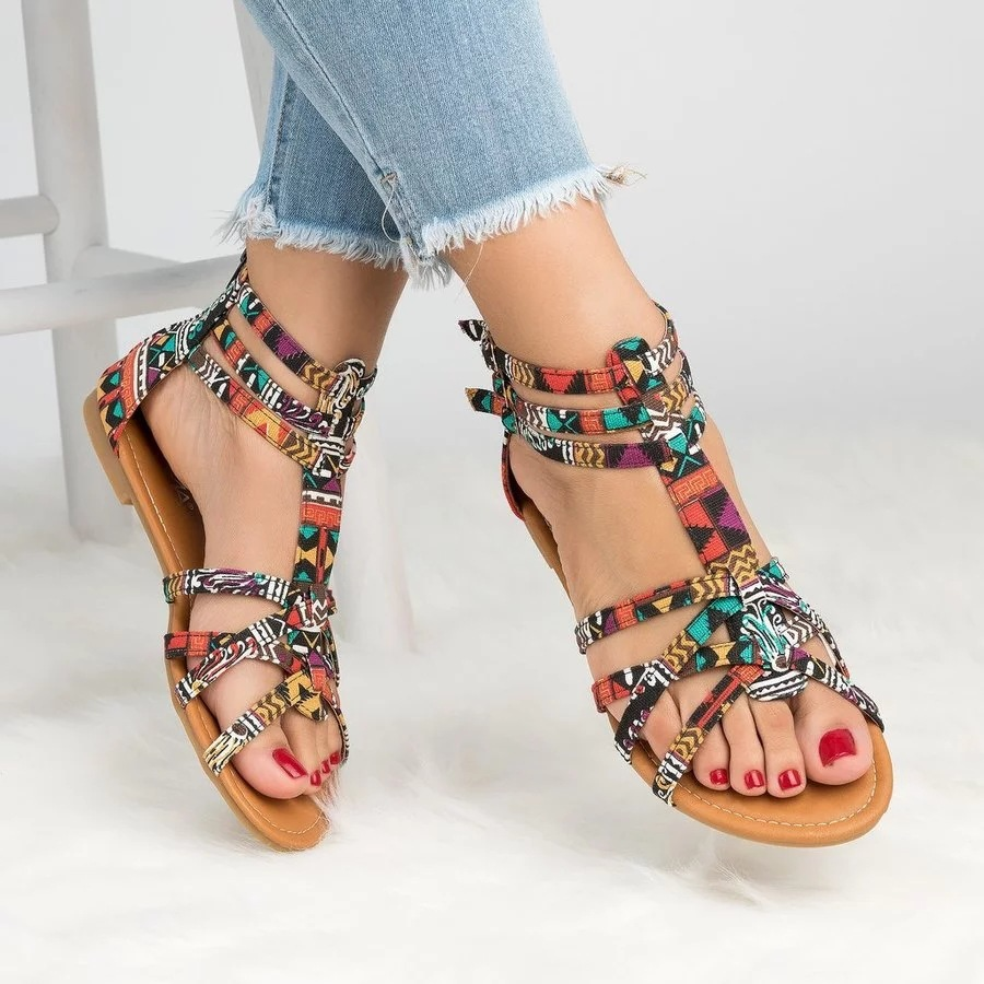 9a767ade666d New Women Gladiator sandalias mujer 2018 Summer Beach Shoes Woman Colorful Bohemian  style Flat Sandals Women Casual Female Shoes-in Women s Sandals from ...