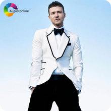 Custom Made White Men Suits for Wedding Groom Tuxedo Black Lapel Slim Fit Terno Masculino 2Piece Man Blazer Jacket Costume Homme