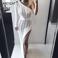Articat One Shoulder Sexy Bodycon Long Dress Women Long Sleeve High Split Bandage Summer Dress Casual Hollow Out Party Dresses