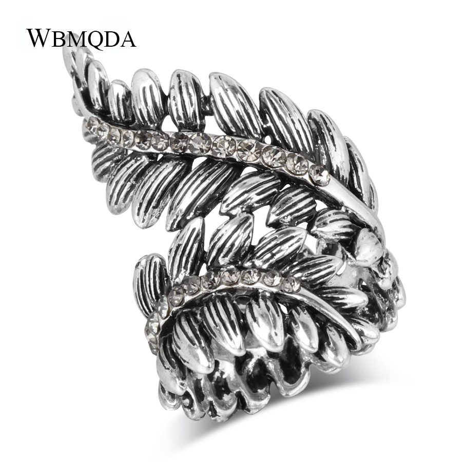 Personalized Big Leaf Ring Antique Silver Mosaic Crystal Punk Rings For Women Vintage Jewelry Best Friend Gift
