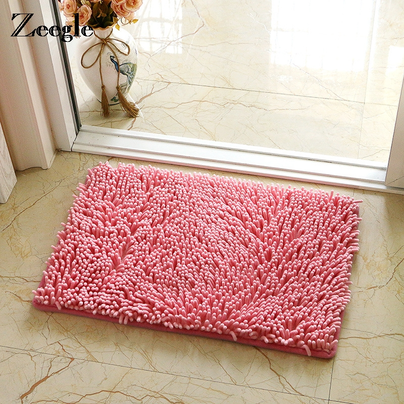 Zeegle Chenille Bath Mats Toilet Rug Mats And Rugs For
