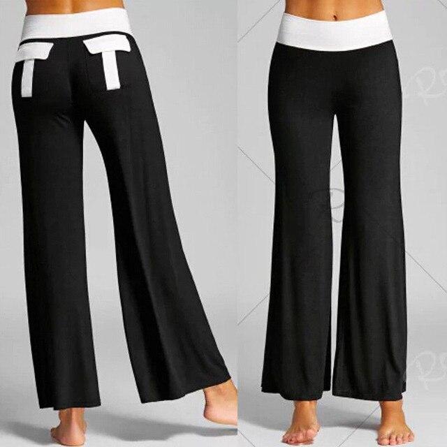 Плюс Размеры Два Тон Lace-Up расклешенные брюки Для женщин танец спортивные Фитнес брюки Повседневное Высокая Талия Брюки большой Размеры