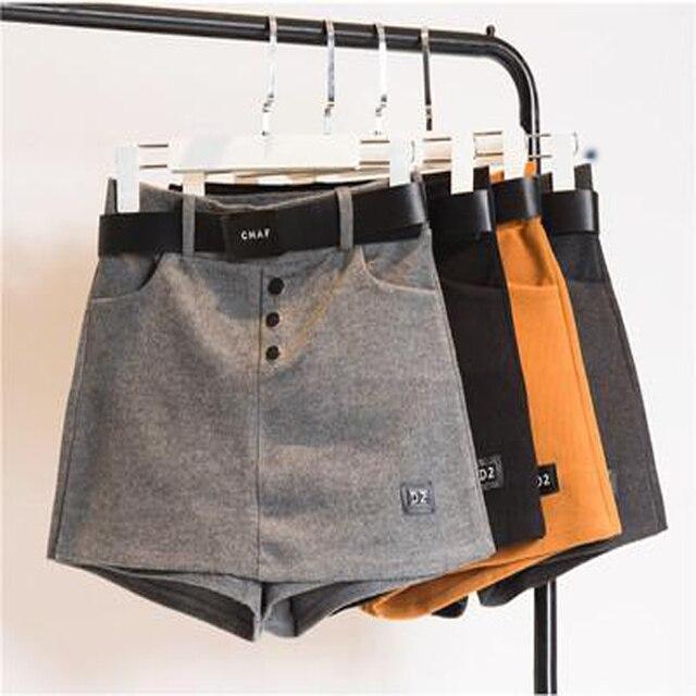 С высокой талией шерстяные шорты женский осенью и зимой модели 2016 новые поддельные два юбки досуг база