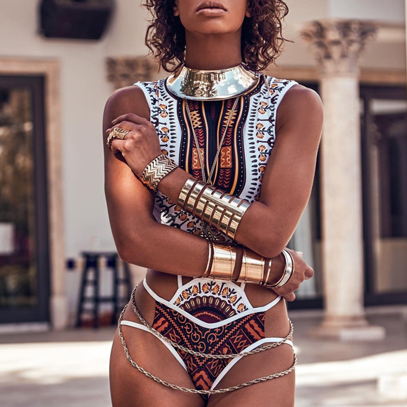 2018 New Hanging Neck One Piece Swimsuit Bandage bodysuit African Printed Swimwear Female High Cut Monokini Sexy High Neck недорго, оригинальная цена