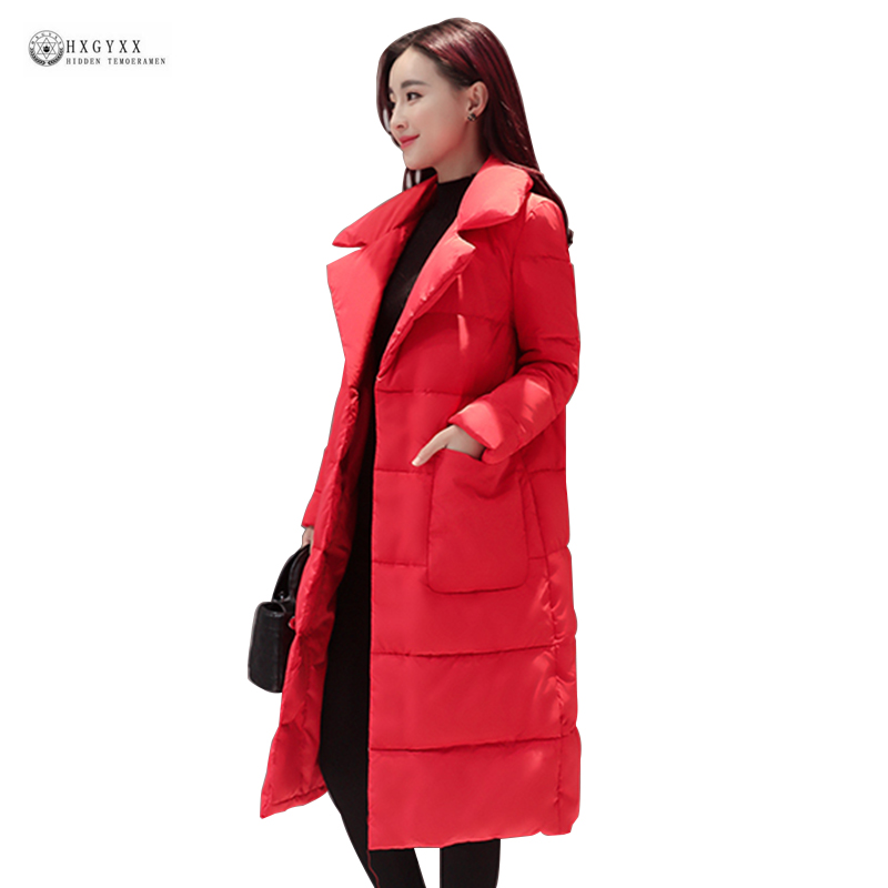 Sale Long Down Jackets Winter Coat Women Pure Color Turn ...
