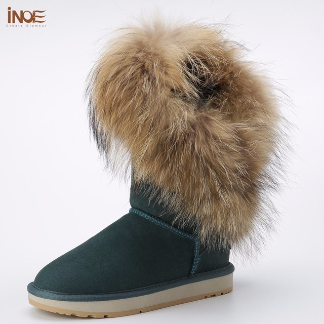 Inoe/модный стиль натуральный Лисий Мех кисточки из овчины на меху зимняя обувь для женщин зимние сапоги Резиновая подошва 35-44 Большие размеры