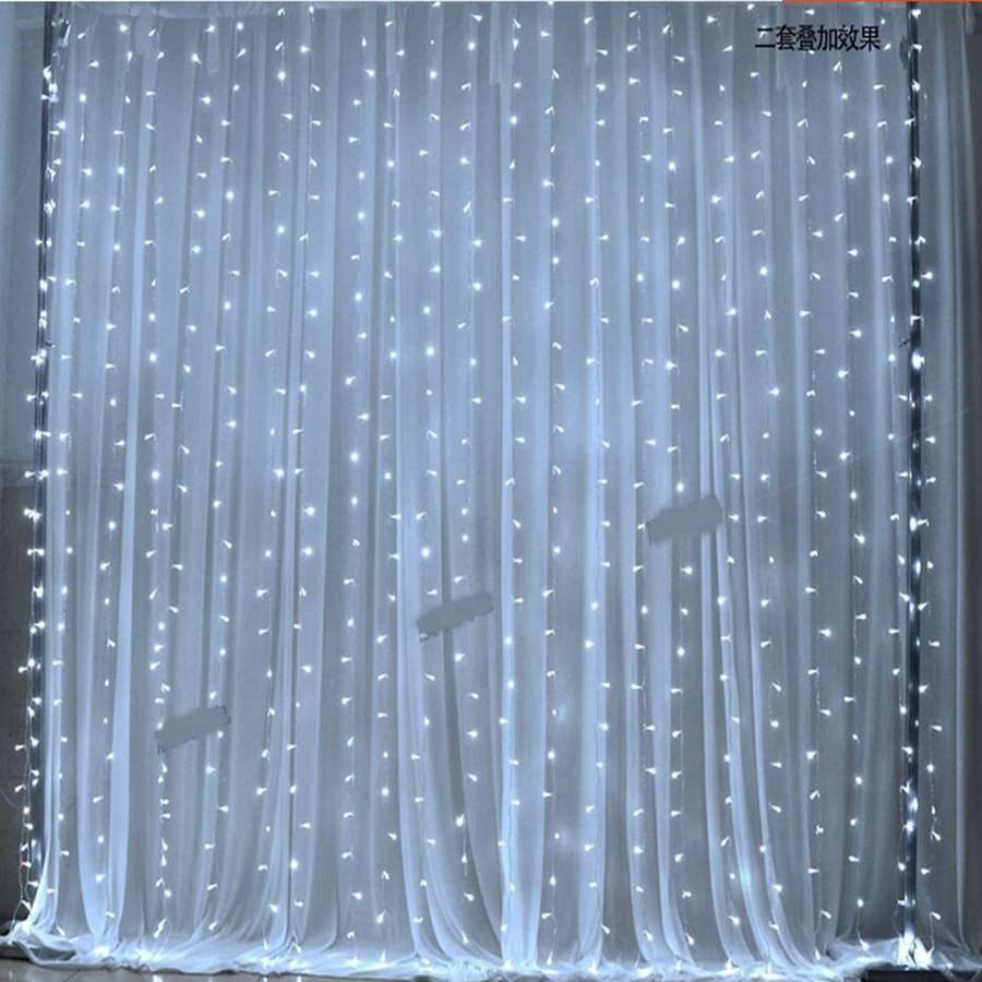 Curtain 3M x 3M 300LED Wedding Light Christmas Light LED String220V Fairy Light Bulb Garland Birthday