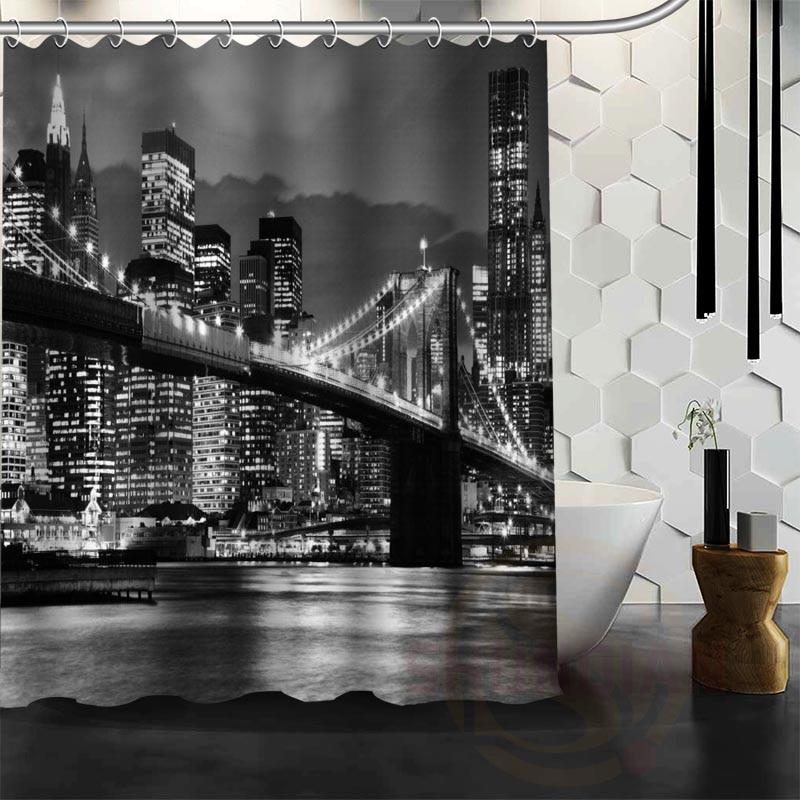 Best Nice Custom New York Night Shower Curtain Bath Curtain Waterproof Fabric For Bathroom MORE SIZE W#@26