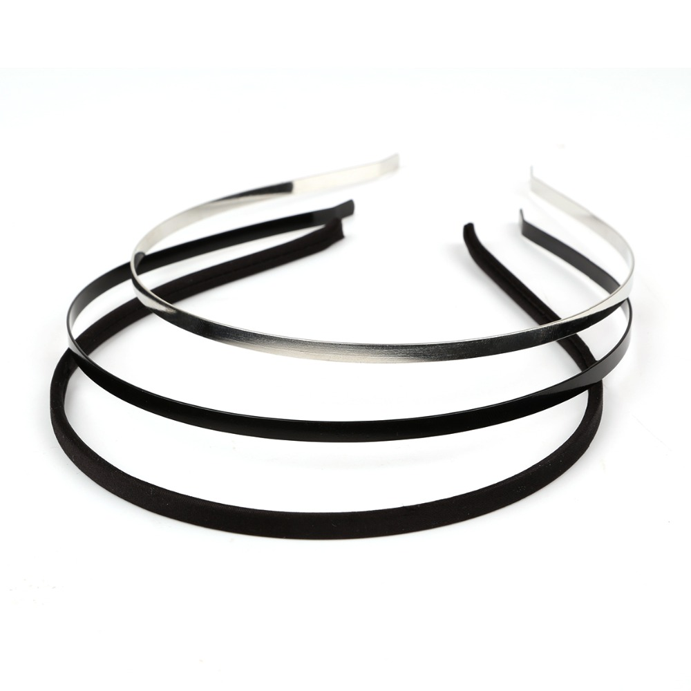 1pc/lot Metal Iron Based Rhodium Black Fabric Headband Hair Band Round Dull Silver Color 5mm width DIY flower Hair Accessories