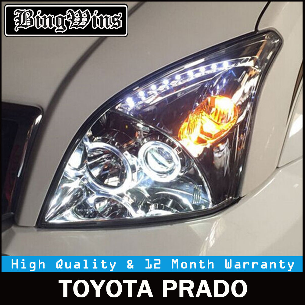 2 Pcs Car Head Lamp For Toyota Prado LC200 Headlights 2004-2009 O Angel Eyes spot LED Headlight DRL Bi Xenon Lens HID Low Beam hireno headlamp for 2003 2009 toyota land cruiser prado headlight assembly led drl angel lens double beam hid xenon 2pcs