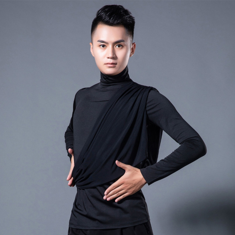 Latin Dance Top Black Long Sleeve High Collar Competition Latin Men Shirt Salsa Rumba Cha Cha Tops Dancing Clothes Male DNV10793