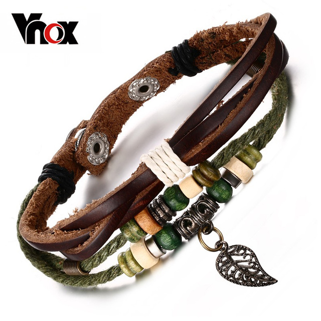 Vnox Brown Genuine Leather Bracelet Men S Bangle Stainless Steel Fashion Retro Charm Jewelry For Women