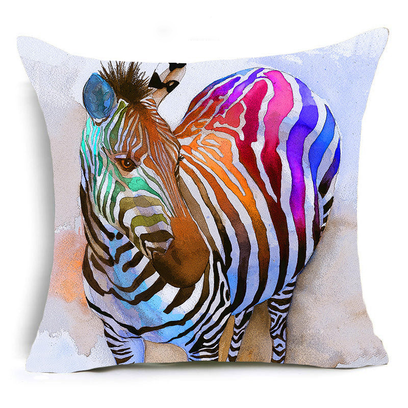 Homing Comfortable Travel Hug Cushion Cover White Horse Bulldog Zebra Pattern Pillow Case for Sofa Car Chair Modern Home Decor