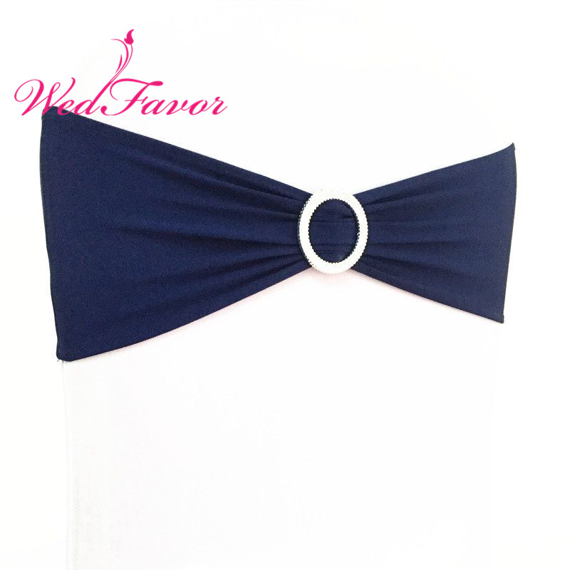 Plastic Wedding Bands >> WedFavor 100pcs Navy Blue Wedding Spandex Chair Sash Bands Lycra Stretch Chair Bow Ties With ...