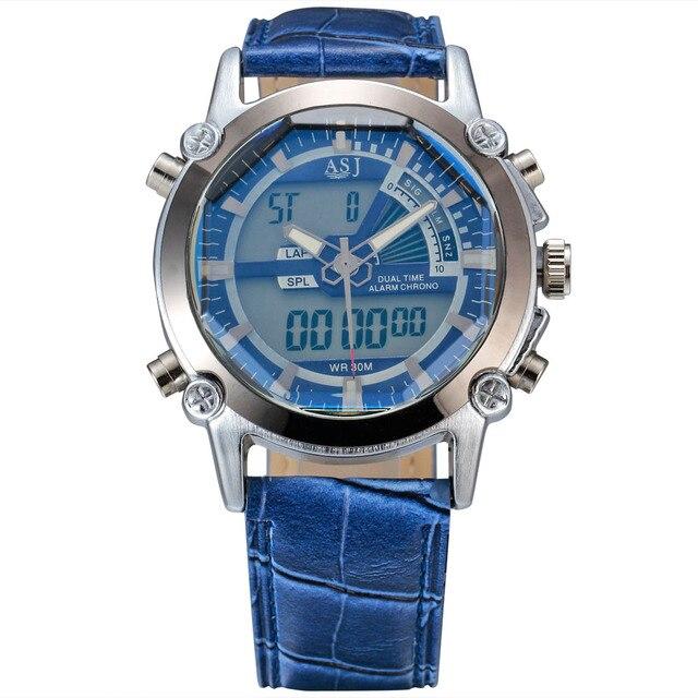 Роскошные Спорт Водонепроницаемый ASJ Часы Армии LED Двойное Движение Цифровые Кварцевые Мужские Часы Кожаный Ремешок Электронные Наручные Часы Мужские Подарок
