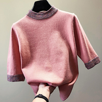 Fashion loose half sleeve knitted sweater women turtleneck patchwork Pullovers 5colors 2019 spring and autumn new arrivals