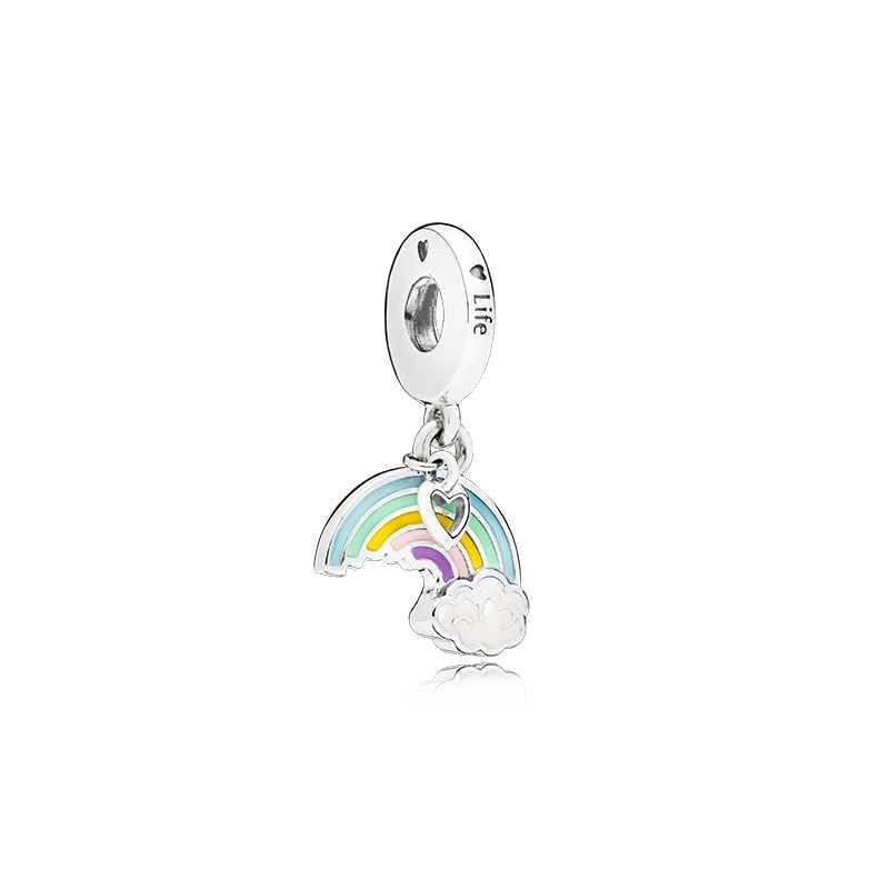 Maxi Vintage lindo perro flor Amor de abuela corazón colgante arcoíris cuentas ajuste Pandora encanto pulseras para las mujeres que hacen joyería regalo