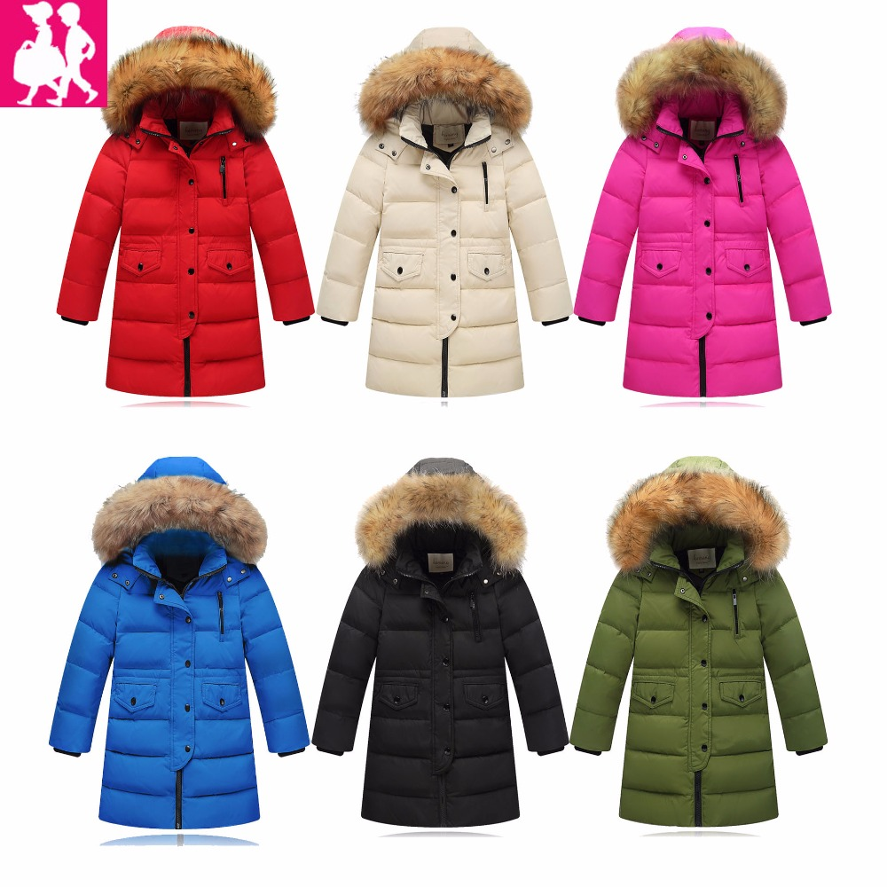 -40degree Children's Down Jackets coat winter fur Big boy girls Coat thick duck Down feather jacket Outerwear cold winter a15 girls down jacket 2017 new cold winter thick fur hooded long parkas big girl down jakcet coat teens outerwear overcoat 12 14