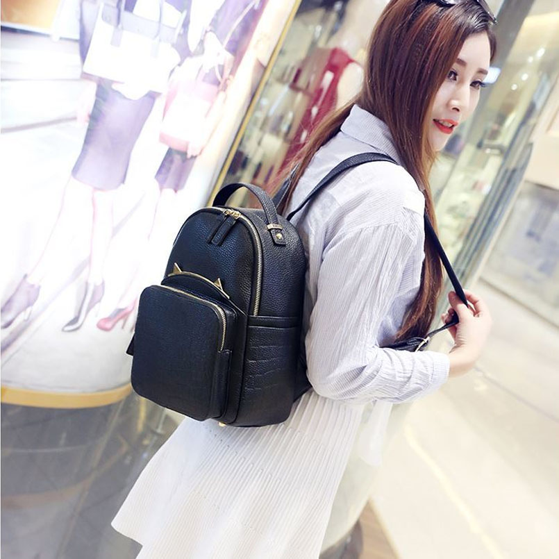 mochila preta pu couro mochilas Use To : School Bags, leisure , travel