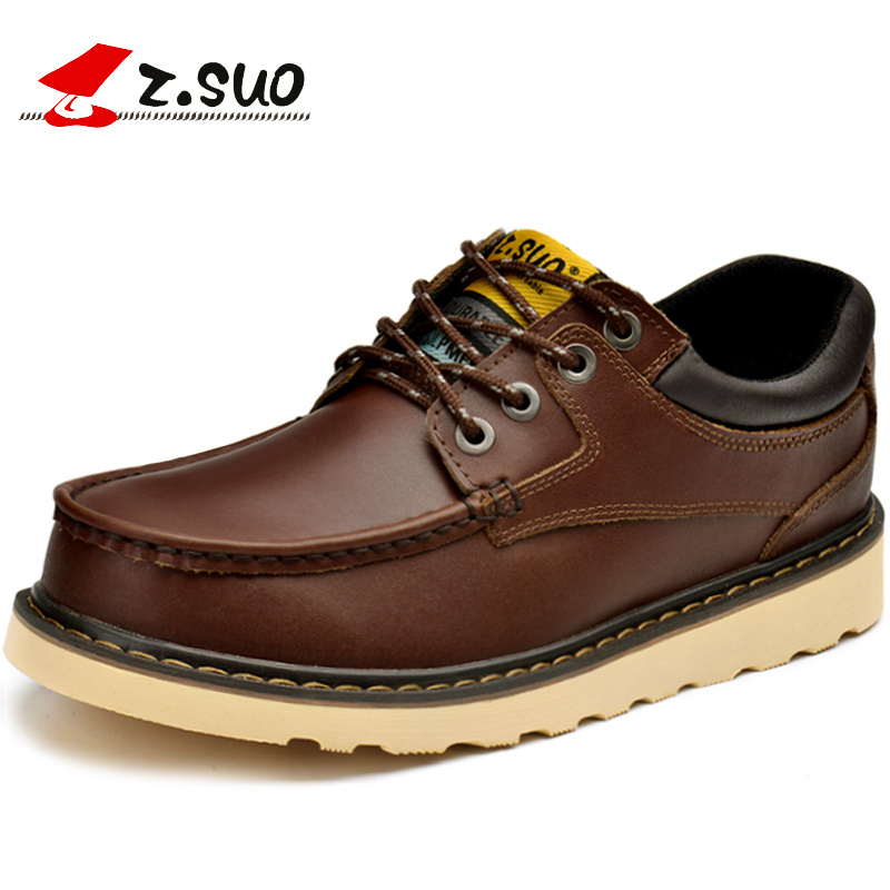 Z.Suo Fashion Spring/Autumn men shoes Genuine Leather shoes Lace-Up Breathable/Comfortable Men's Casual Tooling Shoes men suede genuine leather boots men vintage ankle boot shoes lace up casual spring autumn mens shoes 2017 new fashion