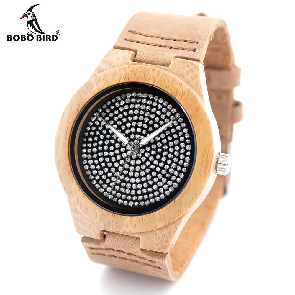 Prix pour Bobo bird a11 unisexe hommes montres top marque de luxe diamant à l'intérieur avec véritable vache bracelet en cuir quartz analogique bois montre