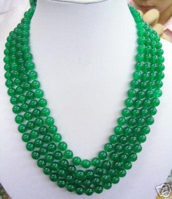 Bijoux de mariage femme collier 4 rangées 8mm collier de perles vertes rondes faites à la main