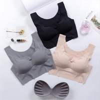 0b7de6234 Three Pieces Vest Push Up Bra Wire Free Sleeping Bra Seamless Underwear  Solid Plus Size Sports