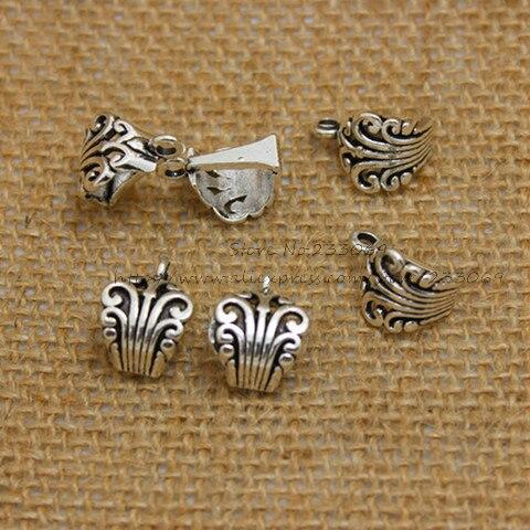 66a455a6130f3 الجملة 50 قطع 8 12 17 ملليمتر العتيقة الفضة تخريمية نمط الكفالة الخرز صنع  المجوهرات T0322