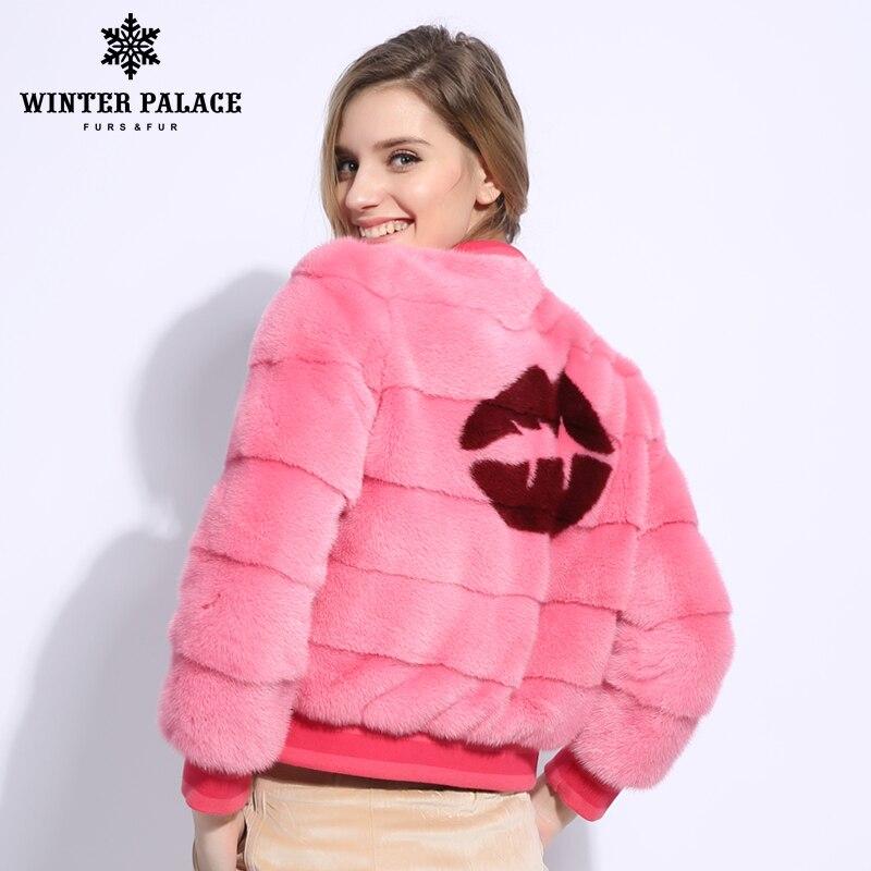 Rose Mode Importé Petite Manteaux Pink Nouveau Veste Manteau Réel Court Vison Décontracté Baseball Fourrure De v0wnmNO8