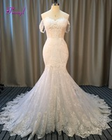 Dreagel New Design Glamorous Appliques Lace Mermaid Wedding Dress 2017 Romantic Sweetheart Princess Wedding Gown Robe
