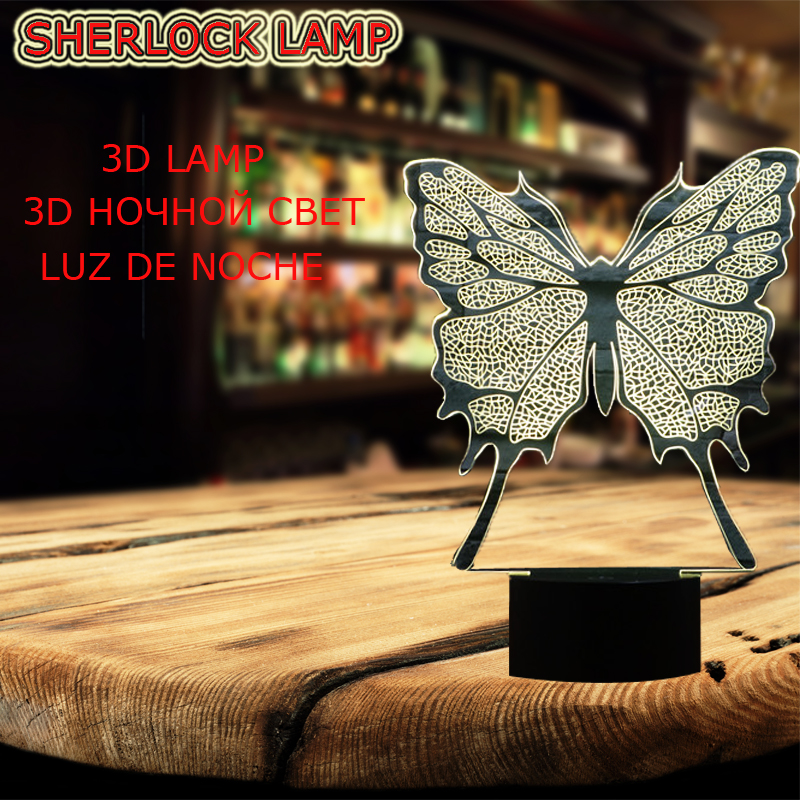 2017 Novelty Animal Butterfly Specimen Shape 3D USB LED Lamp 7 Colors changing Gradient Mood illusion DESK RC Night Light Props