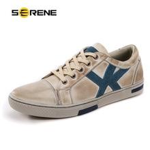 SERENE Brand Men Leather Shoes Big Size 40~45 Spring Autumn Non-Sllip Wear Casual Walking Shoes Retro British Style Beige Shoes