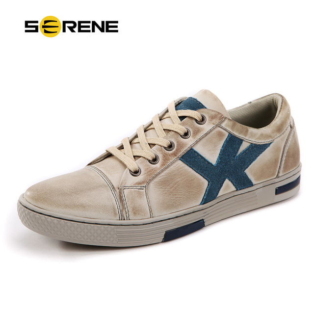 SERENE Leather Shoes Men Spring Flats Non-Sllip Wear Casual Walking Shoes Retro British Style Beige Shoes Big size 6285