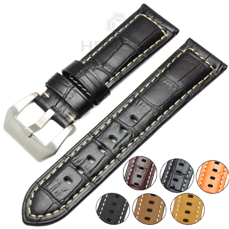 22mm 24mm Watchbands Men Thick Genuine Leather Watch Band Strap For Panerai Bracelet Brown Black Wristwatches Accessories relay shield v1 0 5v 4 channel relay module for arduino works with official arduino boards