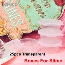 TOFOCO 25pcs Sealed Small Slime Box Clay Transparent Round Plastic Boxes Fluffy Slime DIY Lizun Anti Stress Sludge Accessories(China)