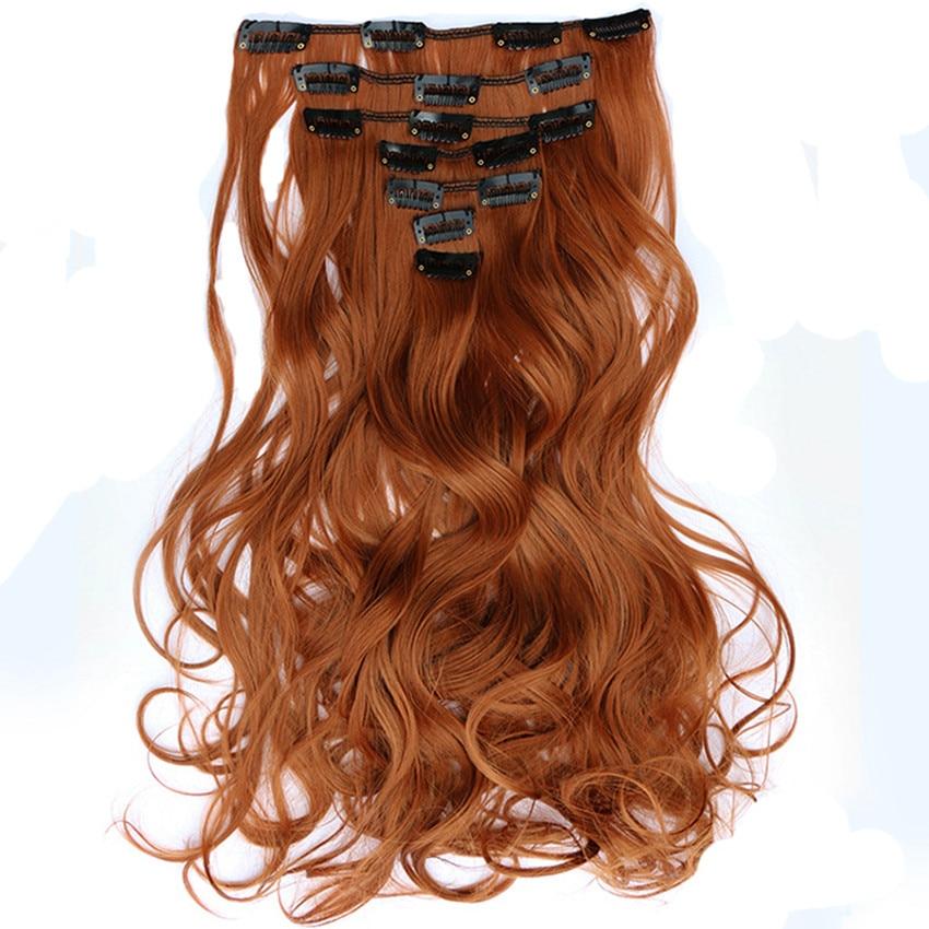 Feibin Clip In Hairpiece Przedłużanie włosów Syntetyczny Długi falisty Pełna głowa 22 cali 55cm Odporny na ciepło