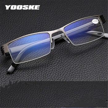 YOOSKE Blue Film Resin Reading Glasses Men Women Metal Half Frame Hyperopia Eyeglasses +1.0 1.52.02.5 3.0 3.5 4.0 Diopter