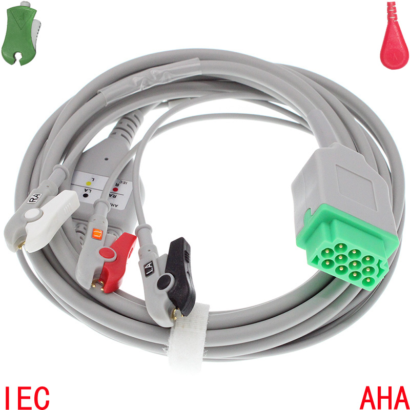 Compatible with 11pin GE-Marquette Patient ECG EKG Monitor with 3 lead Cable and Leadwire for Dash PRO/Eagle/Solar/Tram systemsCompatible with 11pin GE-Marquette Patient ECG EKG Monitor with 3 lead Cable and Leadwire for Dash PRO/Eagle/Solar/Tram systems
