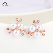 New fashion earrings for woman in clip pearl glass all Jewelry good quality euro  alloy Wholesale