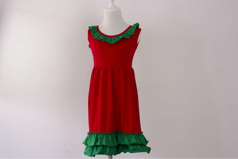 097d2ffc62bc new year girls kids Red and Green cotton princess baby frock designs ...