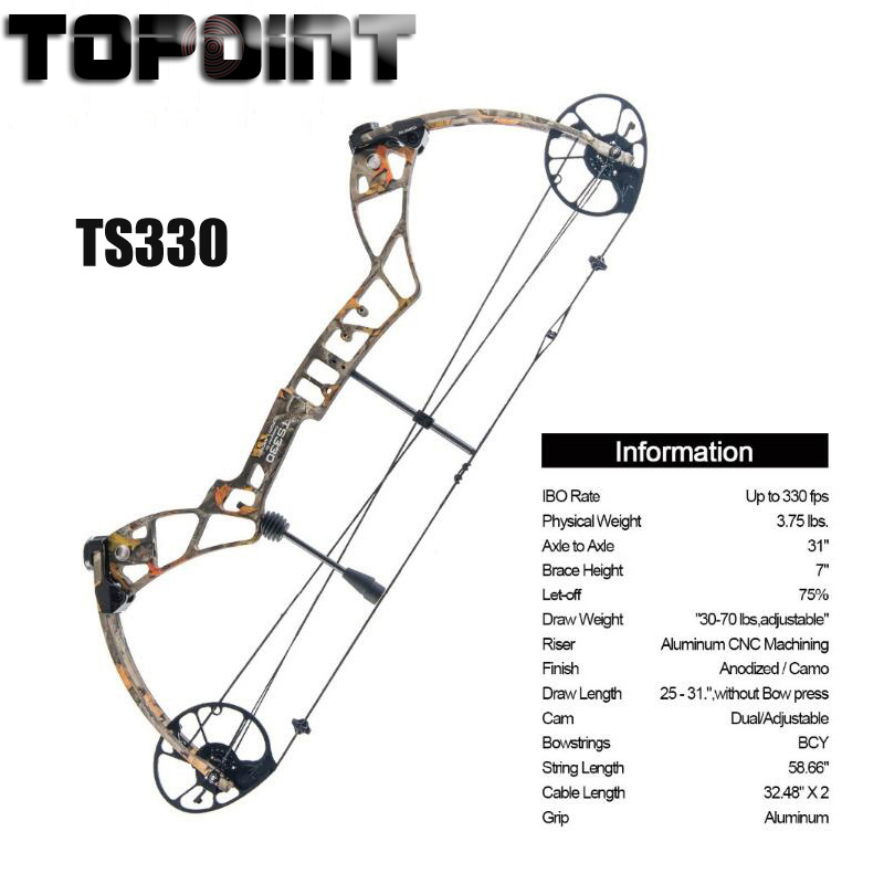 Outdoor Hunting Compound Bow Set TS330 25 31 Draw Length 30 70Lbs Draw Weight 330fps IBO