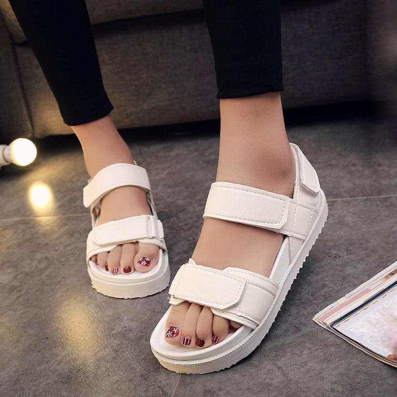 2018 Summer Gladiator Sandals Women Aged Leather Flat Fashion Women Shoes Casual Occasions Comfortable The Female Sandals Gifts women sandals 2017 summer shoes woman wedges fashion gladiator platform female slides ladies casual shoes flat comfortable