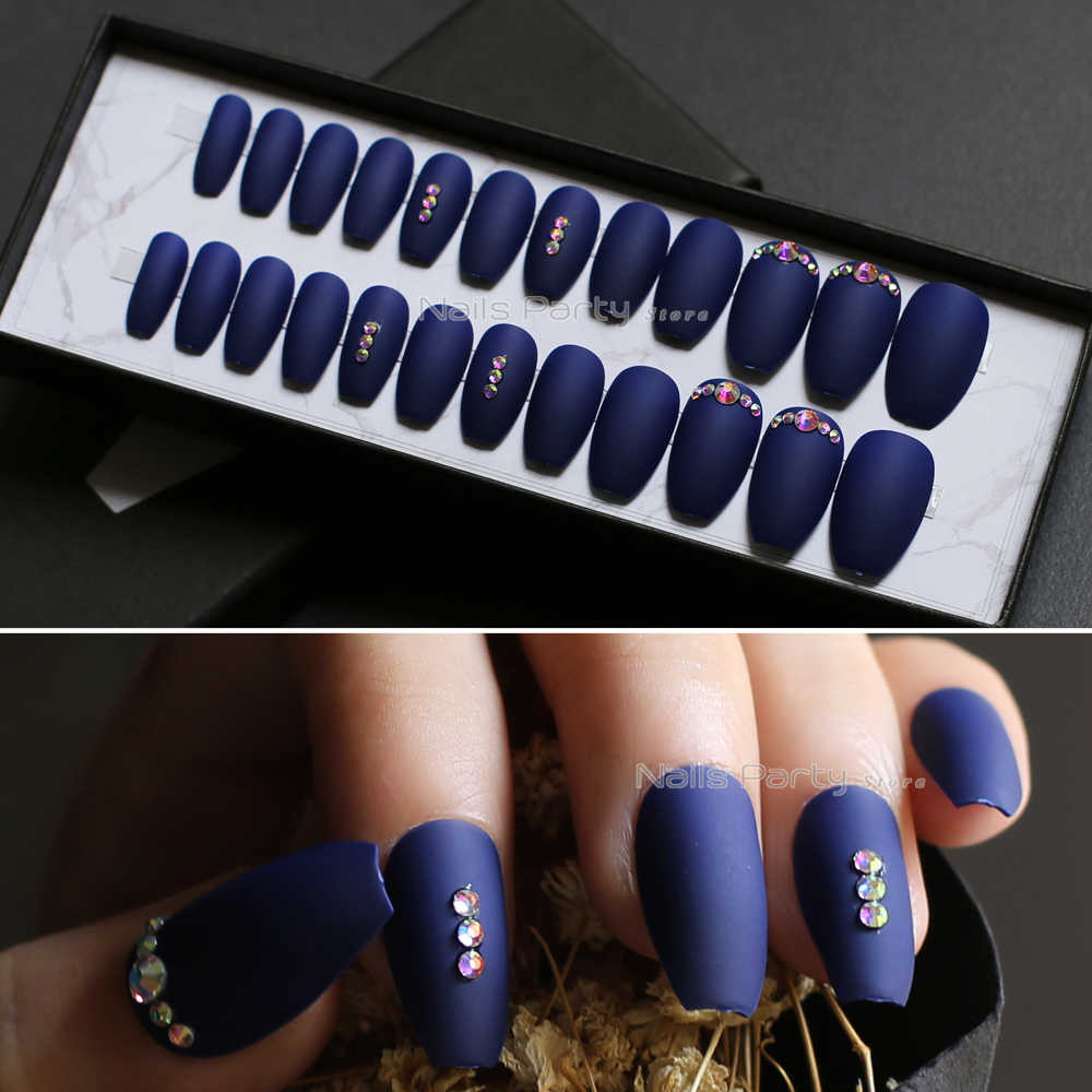 Fake Nails Coffin Jewelry Navy Blue Full Sets Shiny Ab Diamond False Nails Ballerina Mqpq