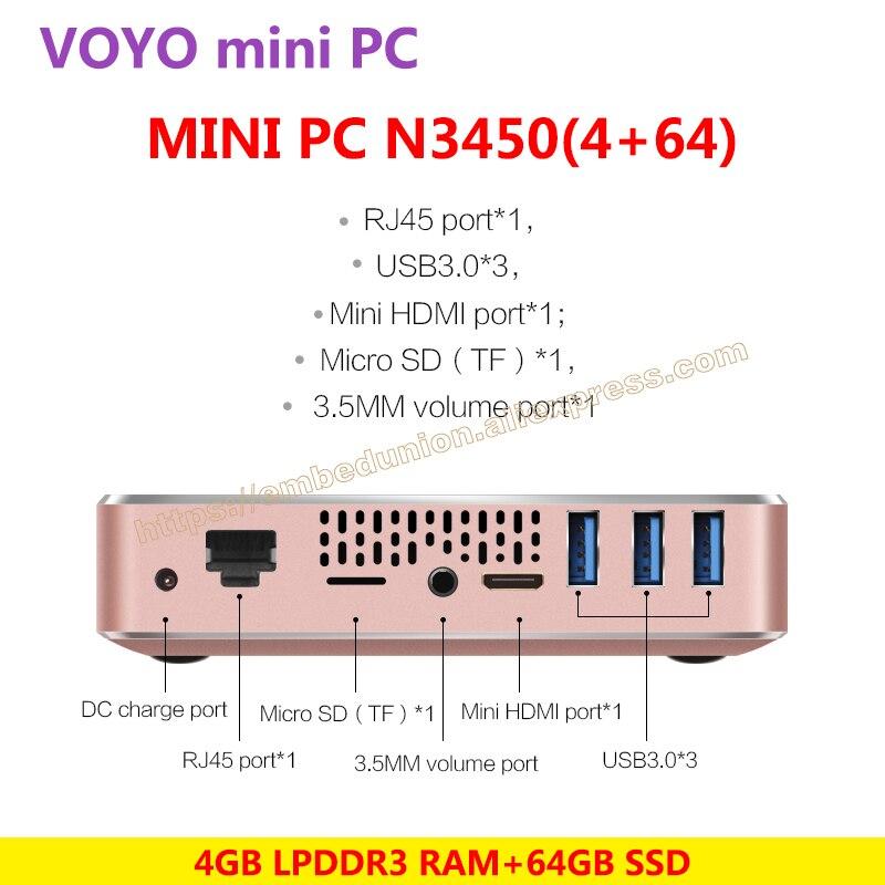 VOYO vmac Мини-ПК V1 лицензии Оконные рамы 10 Pocket PC 3 * USB3.0 4 К выход HD Intel озеро Аполлон N3450