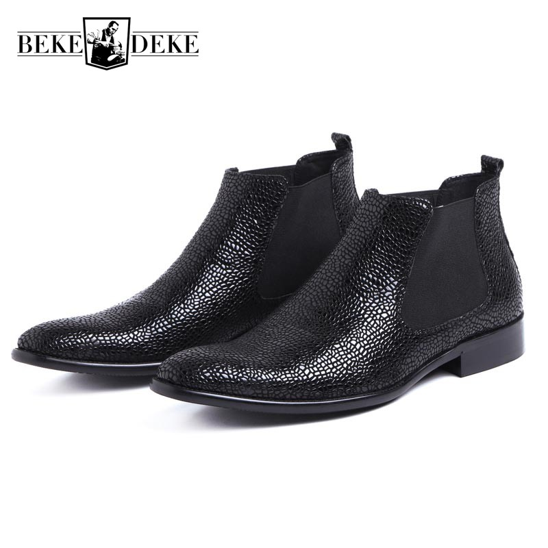 Fashion Snake Men Business Dress Shoes Luxury Genuine Leather Wedding Chelsea Boots Slip On Pointed Toe Prom Party Ankle Boots pjcmg spring autumn men s genuine leather pointed toe slip on flats dress oxfords business office wedding for men flats shoes