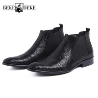 Fashion Snake Men Business Dress Shoes Luxury Genuine Leather Wedding Chelsea Boots Slip On Pointed Toe